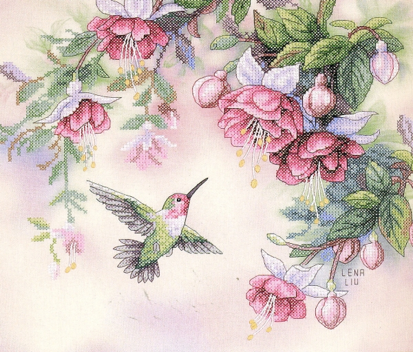 13139/Колибри и фуксии (Hummingbird and Fuchsias)